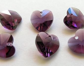 Swarovski Crystal Hearts 10mm Pendants 6228 Amethyst 6 Charms