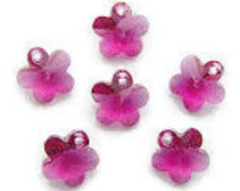 6 Swarovski Crystal Flower Pendants 6744 Fuschia Dangles Charms