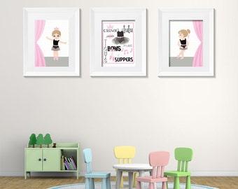 Ballet Dancer set of 3 wall art digital prints
