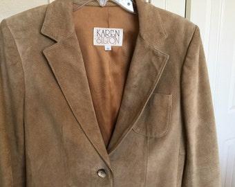 Vintage Silton leather BOHO suede jacket preppy blazer womens size 10 camel brown tan 1970s