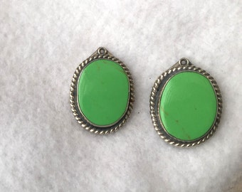 """Chrysoprase apple green turquoise earrings 925 sterling silver green chryoprase roped silver border large 1-1/4"""" high"""
