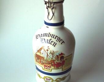 """Vintage """"Hamburger Hafen"""" """"800 Jahre"""" German Beer Decanter"""