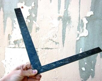 Antique Metal Industrial Framing Ruler 1800s