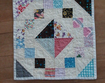 Scrappy 4 Patch and Triangle Quilt
