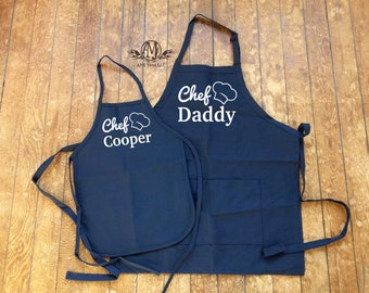 Matching aprons, Personalized Father & Son Apron Set, fathers day gift, cooking apron set,
