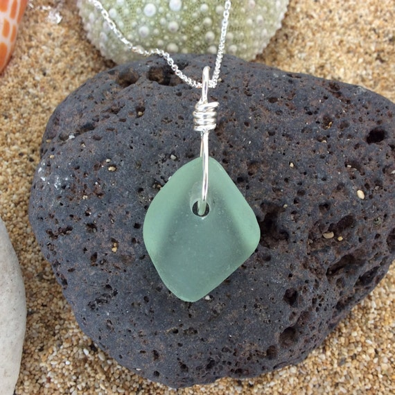 Sea Foam Green Sea Glass, Sterling Silver Diamond cut Chain Necklace