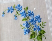 Blue Delphinium cotton hankie / Vintage blue floral sheer cotton handkerchief