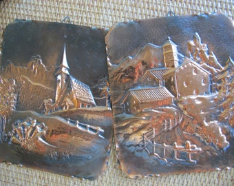 Mountain churches Copper relief pictures (pair) / copper repouse wall hangings