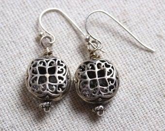 Sterling Silver Ornate Hollow Filigree Bead Earrings - Drop/Dangle