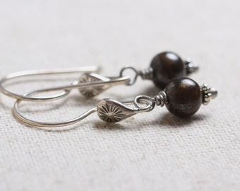 Unique Sterling Silver Starburst Earwires with Brown Bronzite Bead Dangles