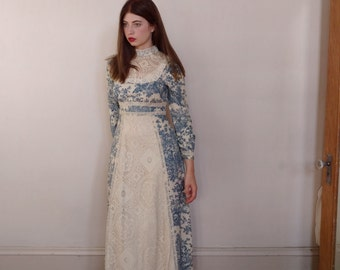 Vintage 1970s Toile Gunne Sax Lace Maxi Dress