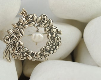 Pearl Sterling Silver Flower Brooch - FREE SHIPPING
