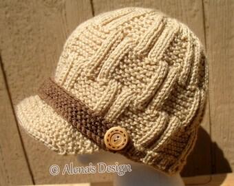 Knitting Pattern 174 - Knitting Hat Pattern Mens Visor Hat Boys Beanie Children Teen Adult Ladies Unisex Hat Women Winter Hat Christmas Gift