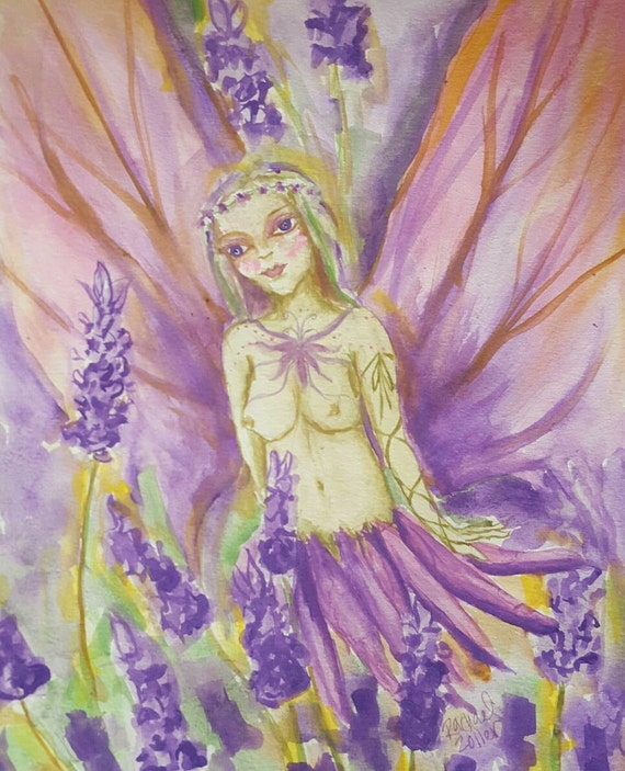 Lavender Faery Original Watercolor painting by rachael Zoller from rosiluna