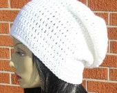 Cream Crochet Slouchy Beanie Hat Unisex. READY TO Ship