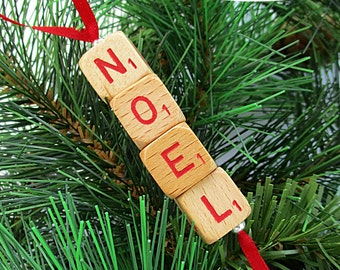 NOEL Christmas Ornament - Scrabble RSVP Cube Ornament, Stocking Stuffer, Package Tie-On, Co-Worker Gift
