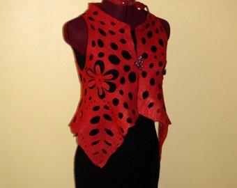 "Felted vest red "" Openwork"" floral merino wool silk ornament"