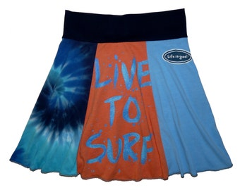 Surfer Chick Women's Medium Upcycled Hippie Skirt Recycled T-Shirt Clothing from Twinkle