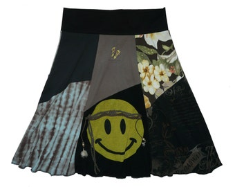 Smiley Hippie Upcycled Skirt Women's Large XL recycled t-shirt clothing from Twinkle