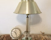 Hollywood Regency Lamp with Silver Metal Lampshade Glass and Mirror