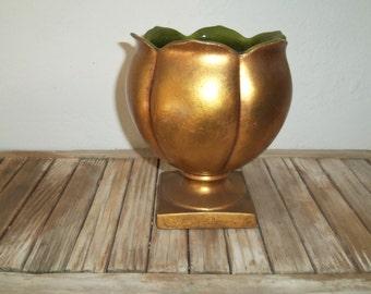 Mid Century Gold California Pottery Planter Anthony Freeman & McFarlin
