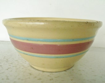 "5"" Small Yellow Ware Mixing Bowl Watt  Pink Blue Band Pottery Kitch N Queen line #5"