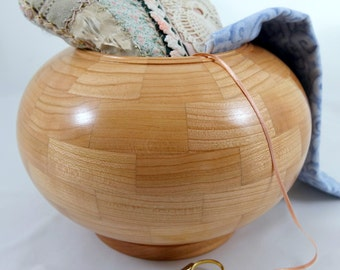 Wooden Knitting, Crochet or Sewing Cherrywood Bowl, Segmented, Lathe Turned