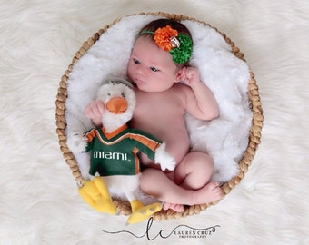 University of Miami Colors Headband, perfect for Newborn Photos, green and orange, football headband, sports headband by Lil Miss Sweet Pea