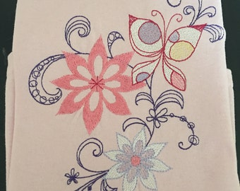Flower And Butterfly Embroidered Shirt