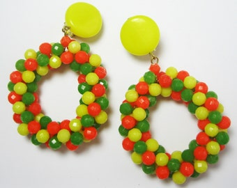 Plastic Earrings - Lucite Earrings - Tutti Frutti Vintage Earrings - West Germany Earrings - Lemon, Lime, Orange - Dangle Earrings