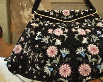Vintage Paris France Black Seed Beaded Handbag Purse / Flower Details / Made in France / Matching Coin Purse / Manhill Bags / Hand Made