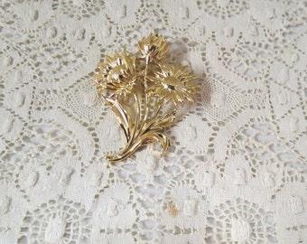 Sale Vintage Floral Flowers Brooch Gold Plate