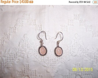 20 OFF EVERYTHING Vintage Rose Quartz dangle earrings. Sterling silver.