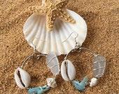 Shell & Sea Glass Earrings // Shell Earrings // Sea Glass Earings // Sea Shell Earrings