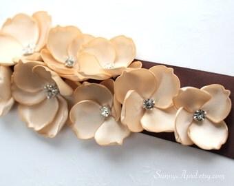 Brown Beige Champagne Sash/ CHOOSE YOUR COLOR Sash/ Wedding Ribbon Sash/ Handmade Accessory