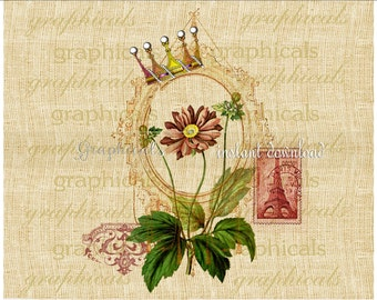 French decor Instant Digital download graphic image for iron on fabric transfer burlap decoupage papercraft tag pillow No. 2296