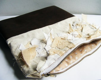 Cotton and Brown Leather Bag - Makeup Bag - Clutch