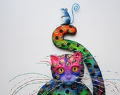 Colorful cat-whimsical cat-cat wall decor-wood cat art