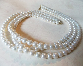 Ivory Pearl Necklace Bridal Wedding Jewelry Ivory Bridal Necklace Wedding Pearl Jewelry Three Strand Bridal Pearls Classic Pearl Necklace