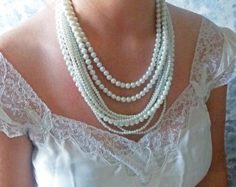 Pearl Bridal Jewelry Chunky Pearl Necklace Wedding Pearl Jewelry Ivory Bridal Necklace Long Pearl Strands Ivory Pearl Bridal Necklace White