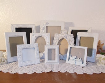 White Shabby Chic Picture Frame Set Rustic Distressed Photo Wedding Reception Decoration French Country Garden Cottage Home Decor Gift Her