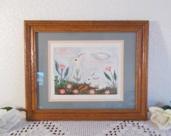 Vintage Bunny Rabbit Watercolor Painting Wood Framed Mid Century Modern Baby Nursery Home Decor Shower Gift Easter Wall Hanging Decoration