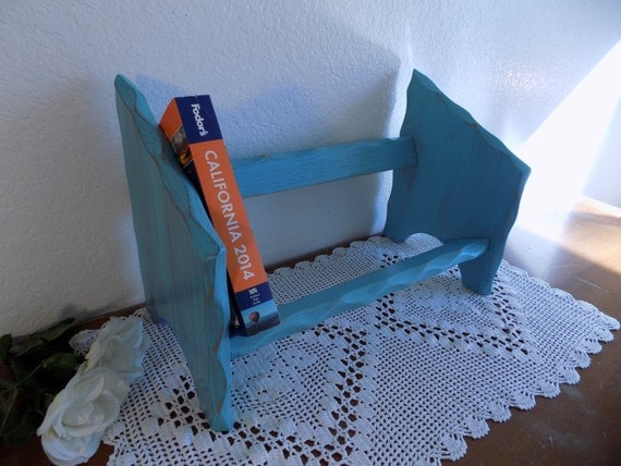 Aqua Turquoise Blue Book Shelf Up Cycled Vintage Rustic Distressed Wood Bookend Shabby Chic Storage Organizer Beach Cottage Home Decor