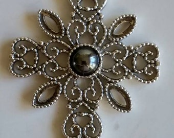 Vintage Silver Tone Filigree Cross Pendant With Faux Black Pearl by Avon