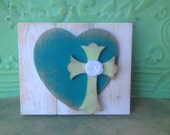 Rustic White and Teal Heart and Cross Hanger, Shabby Chic Home Decor Heart, Gallery Wall Decor