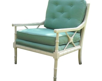 Mid-Century Faux Bamboo Lounge Chair Hollywood Regency