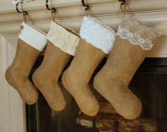 The Classic Cream Line- Single (1) Burlap Stocking, Christmas Burlap Stocking