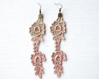 Rose Gold and Tan Lace Earrings  // Lace Jewelry