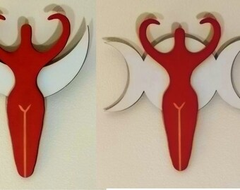 Red Goddess' over Moon wall art pair