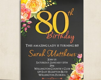 Watercolor Spring Floral Chalkboard 80th Birthday Invitation Any Age Adult Yellow and Rose Printable Invite